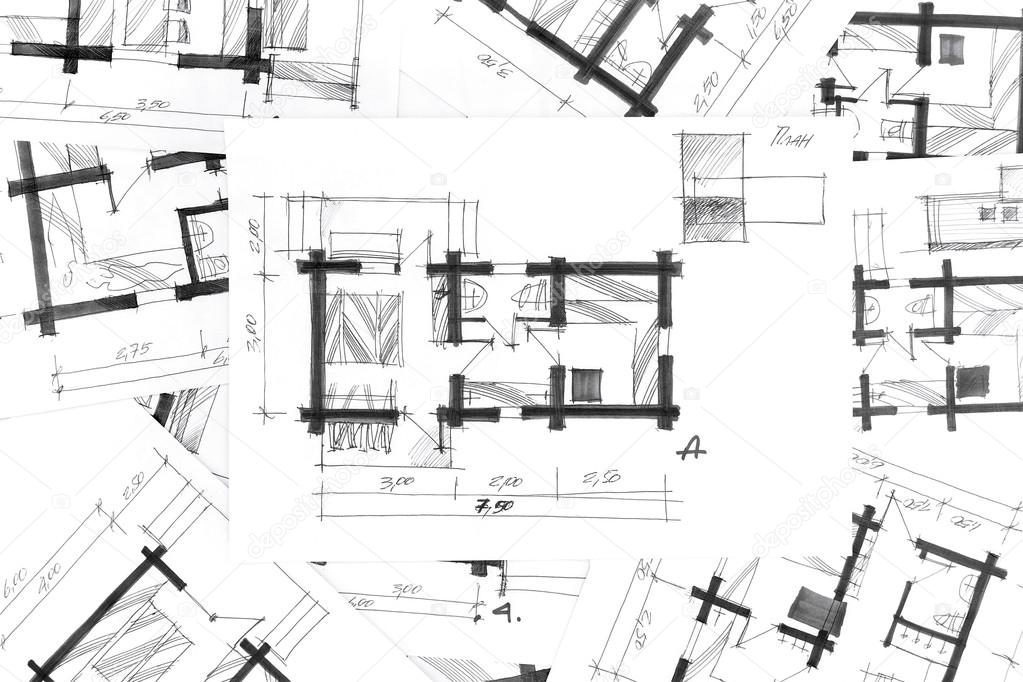 architectural sketches a pencil as background \u2014 Stock Photo - background sketches