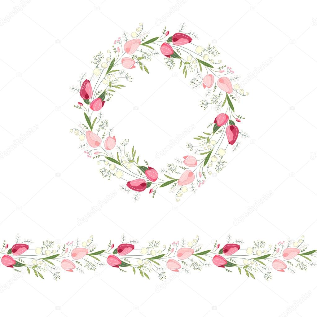 Floral Round Garland And Endless Pattern Brush Made Of Red