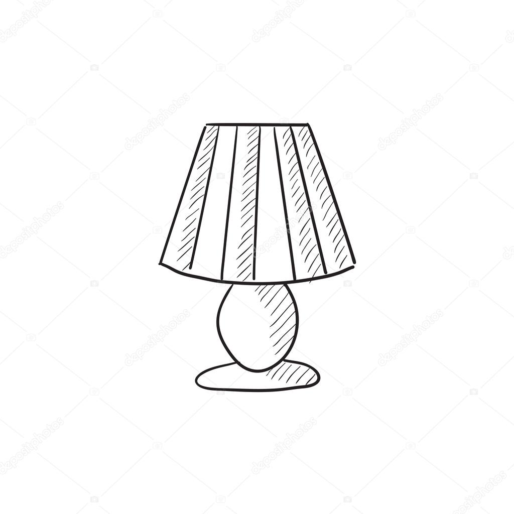 Table Lamp Drawing Image Table Lamp Sketch Icon Stock Vector Rastudio 112213752