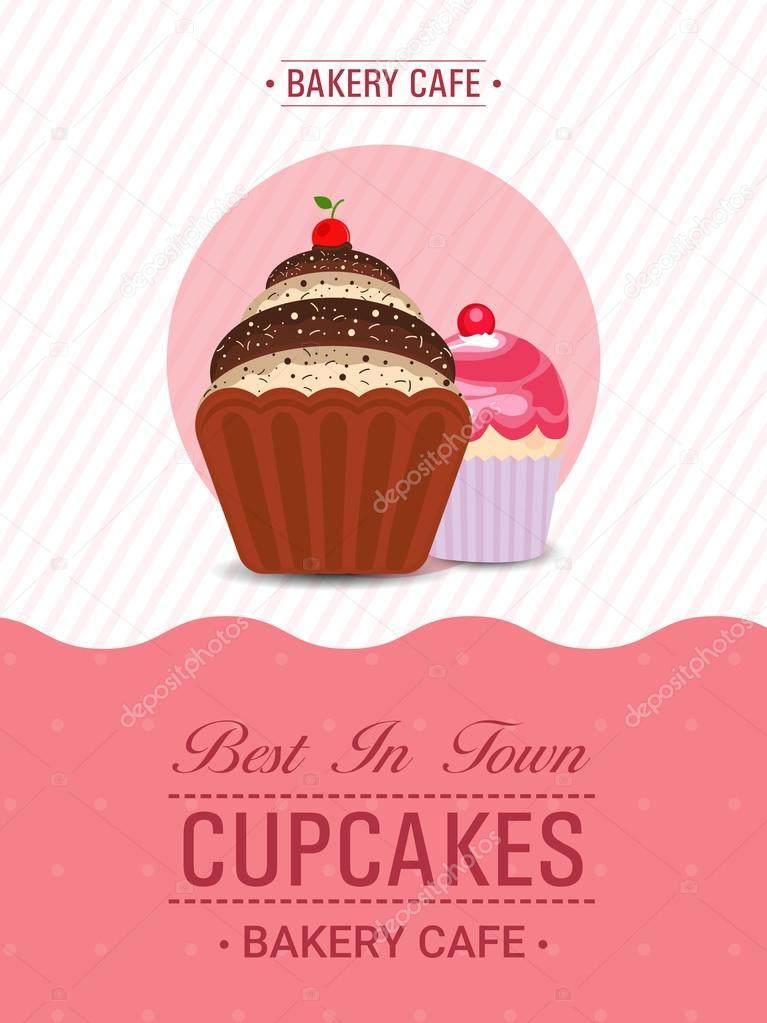 Cupcake Template, Banner or Flyer design \u2014 Stock Vector