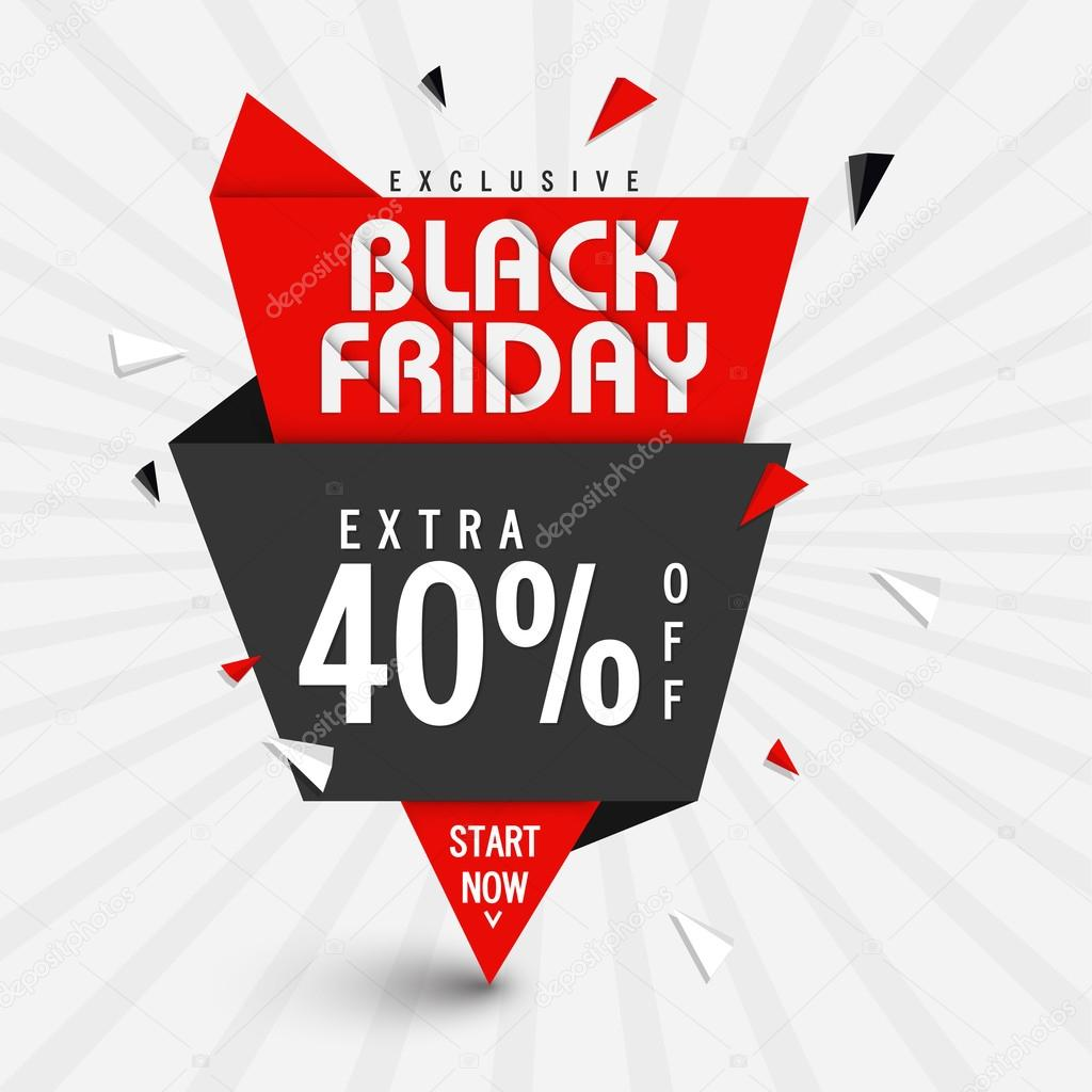 Black Sale Exclusive Black Friday Sale Paper Tag Design Stok Vektör