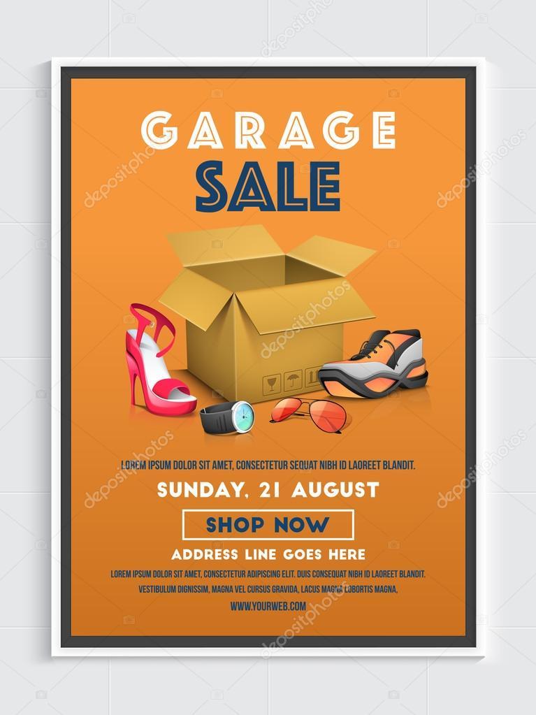 Garage Sale Poster, Banner or Flyer design \u2014 Stock Vector