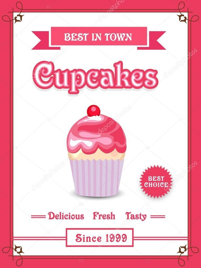 Menu card, flyer or brochure for cupcakes \u2014 Stock Vector