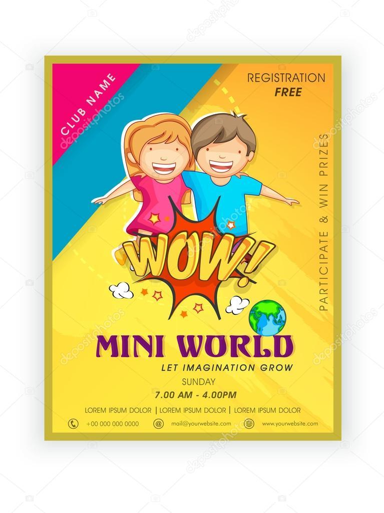Template, brochure or flyer design for mini world \u2014 Stock Vector
