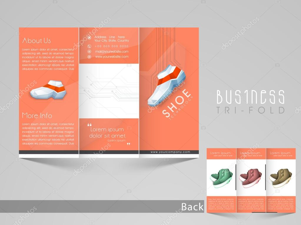 Stylish trifold flyer or banner for Shoe company \u2014 Stock Vector