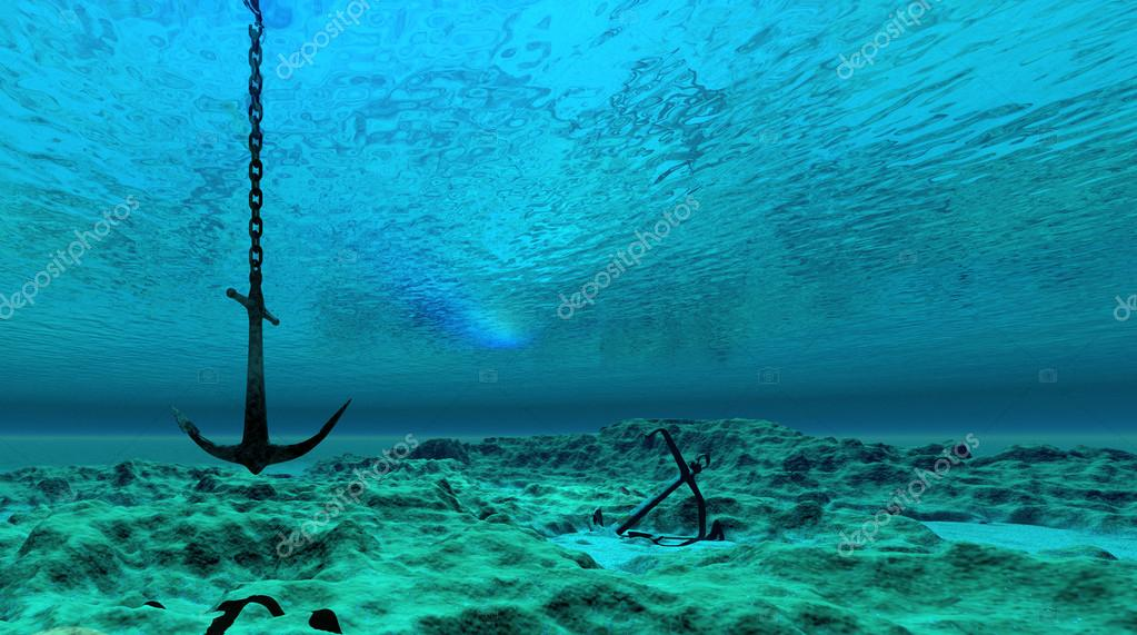 Northern Lights 3d Wallpaper Anchor Underwater Scene Stock Photo 169 Surovtseva 118513742