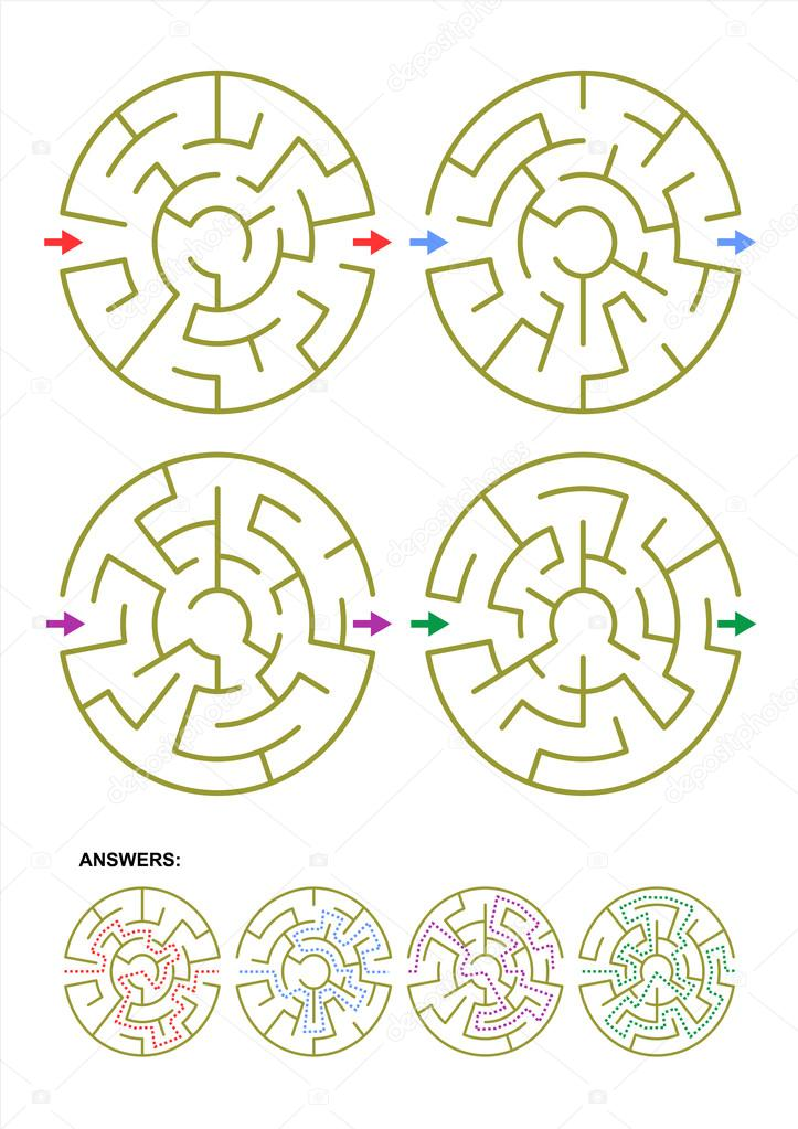 Set of four round maze game templates with answers \u2014 Stock Vector