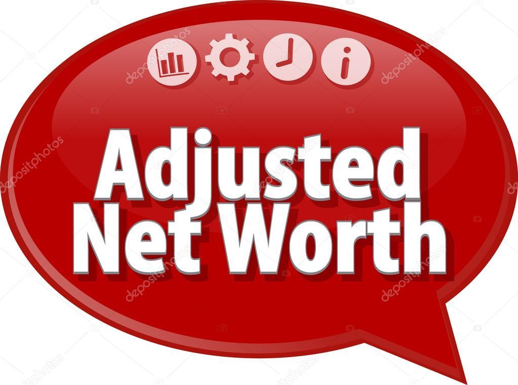 Adjusted Net Worth Business term speech bubble illustration \u2014 Stock