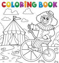 Disegni da colorare clown libro vicino a tema circense 3