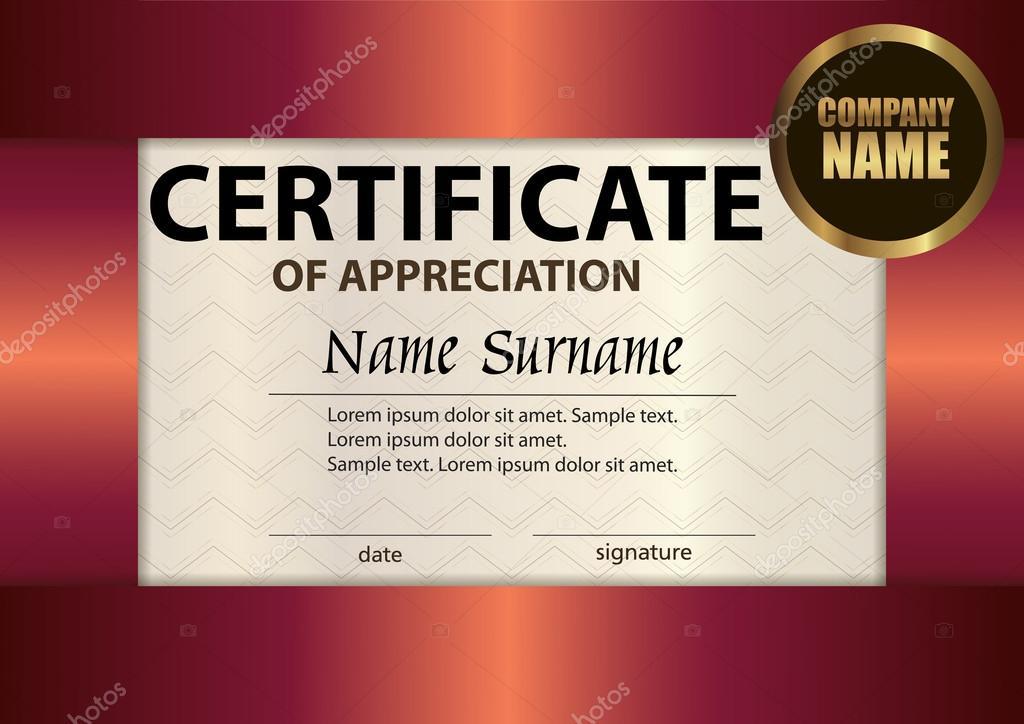 Vector certificate of appreciation template Award winner \u2014 Stock
