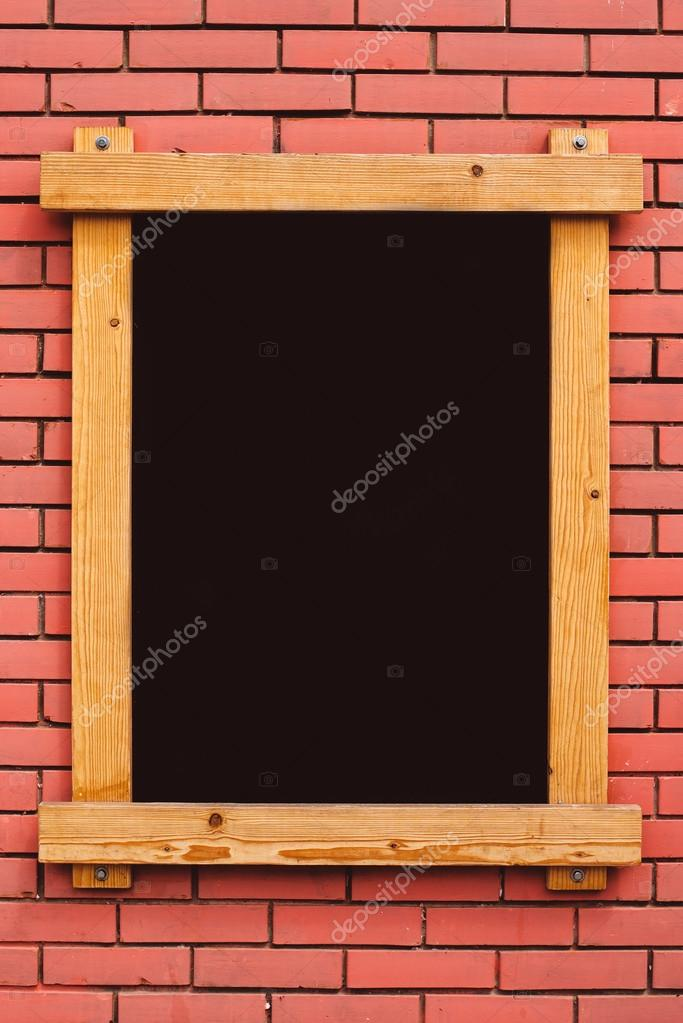 Blank menu blackboard on cafe wall \u2014 Stock Photo © stevanovicigor