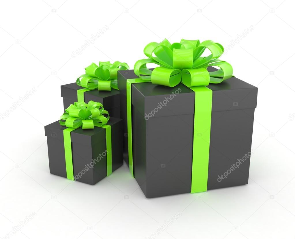 Black Gift Boxes Black Gift Boxes With Bows Stock Photo Merznatalia 104727614