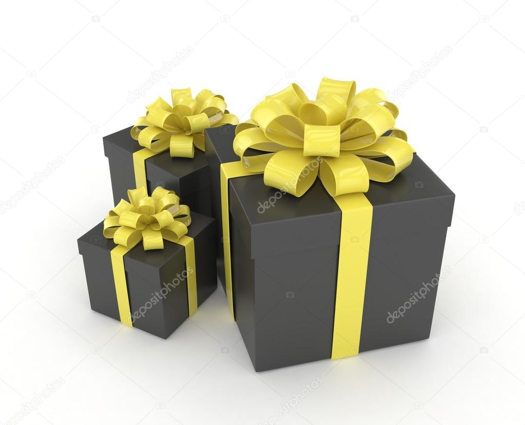 Black Gift Boxes Black Gift Boxes With Bows Stock Photo Merznatalia 113931308