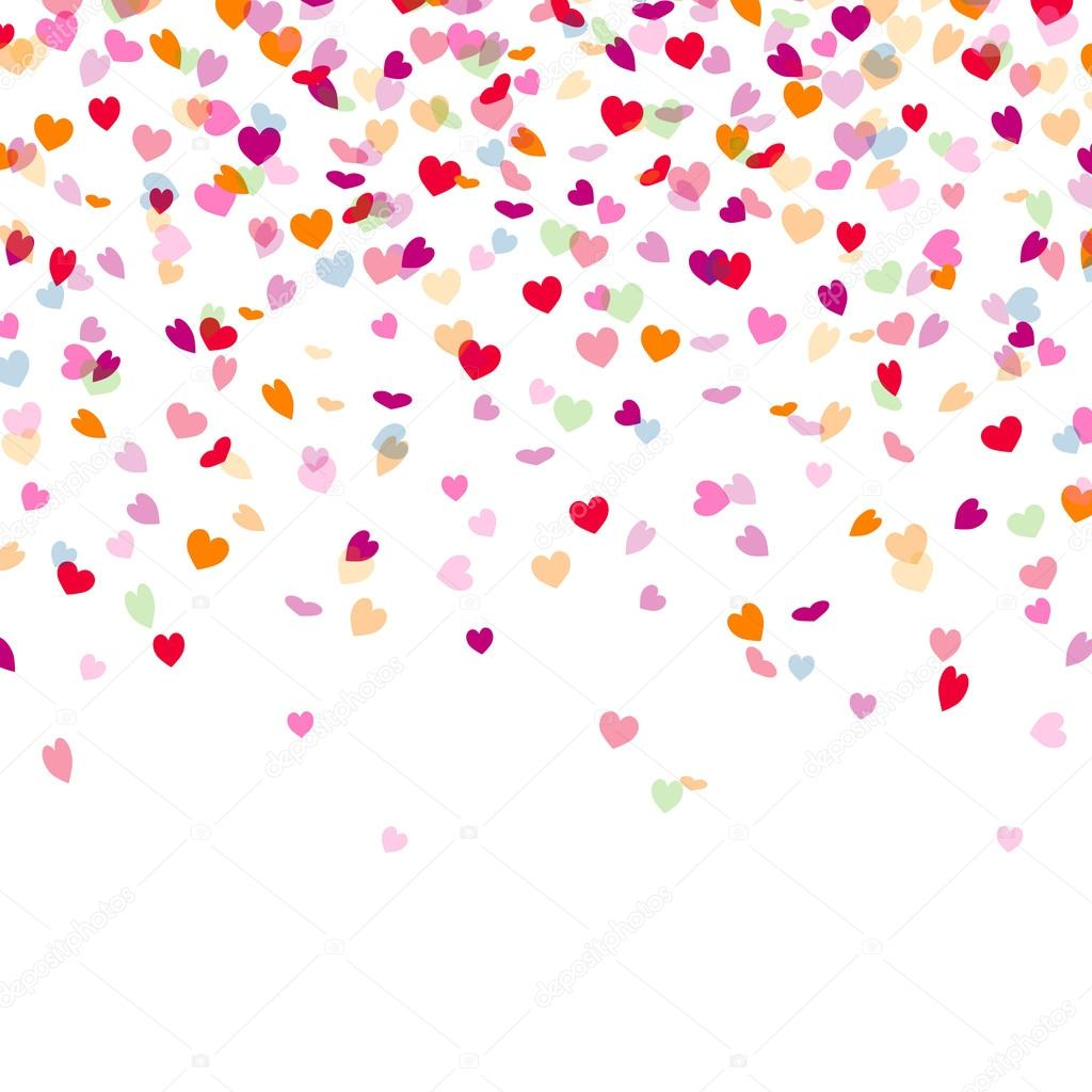 Purple Falling Circles Wallpaper Vector Background With Heart Confetti Stock Vector