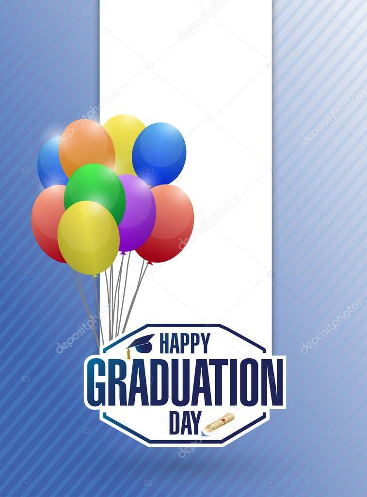 tarjeta de graduación feliz día de fiesta globos \u2014 Foto de stock
