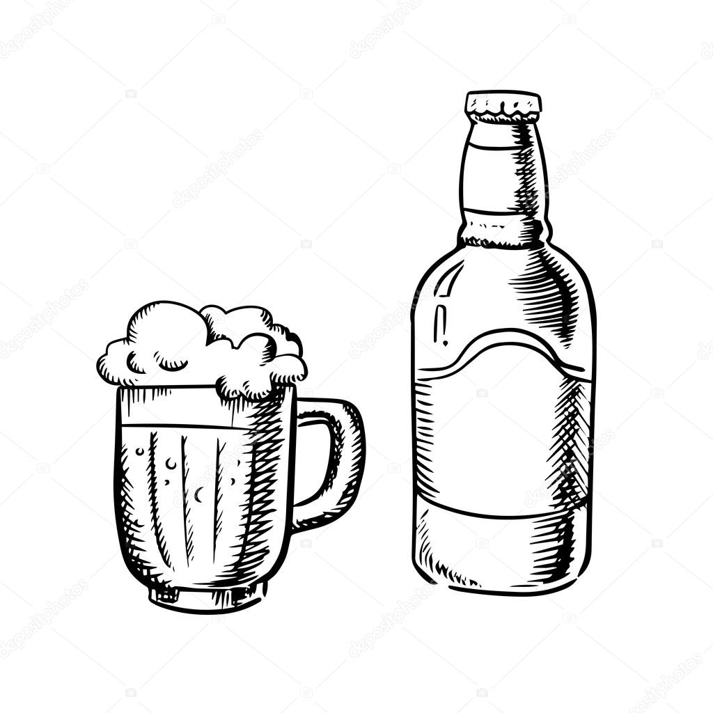 Pils Glas Beer Bottle And Filled Tankard Stock Vector Seamartini