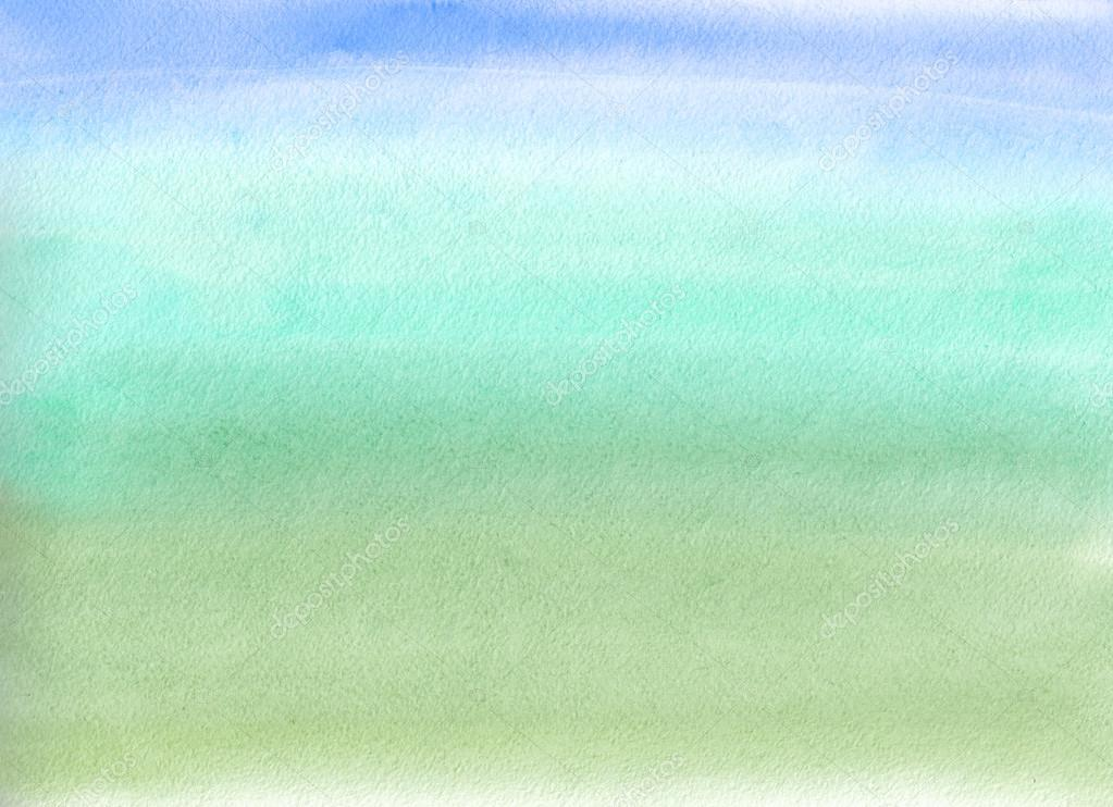 Watercolor painting Blue and green gradient \u2014 Stock Photo © amoklv