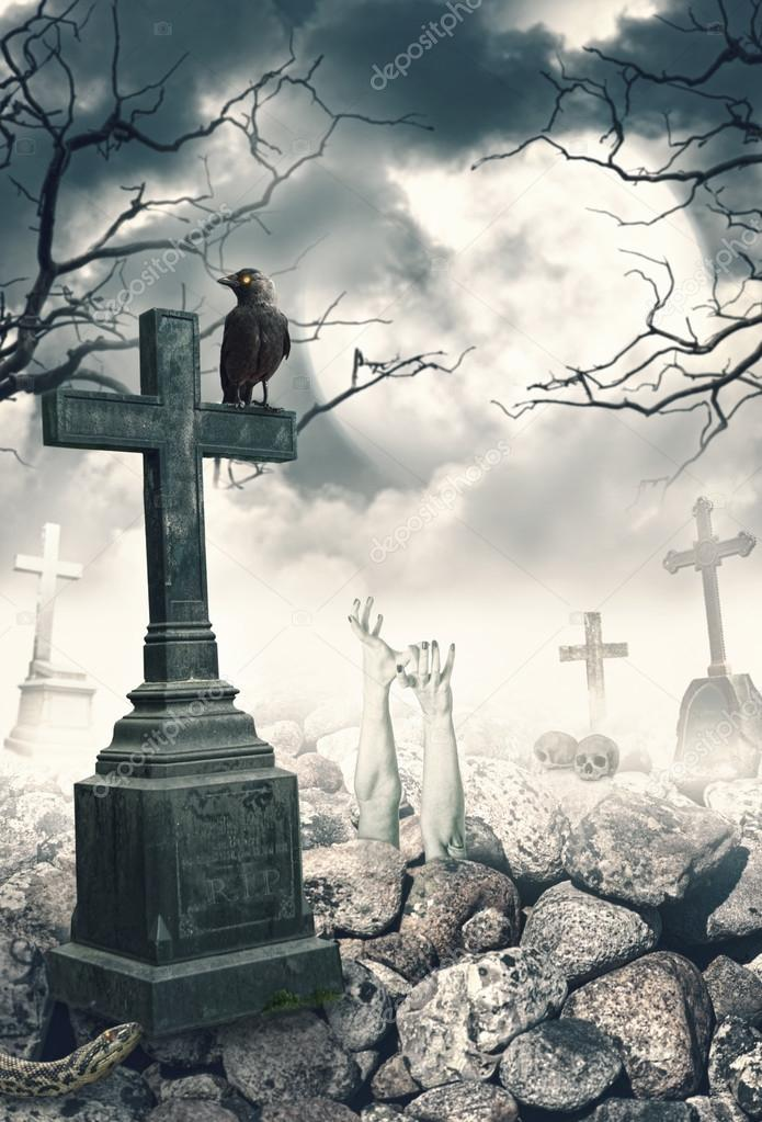 Halloween mystical spooky background with raven and cross \u2014 Stock