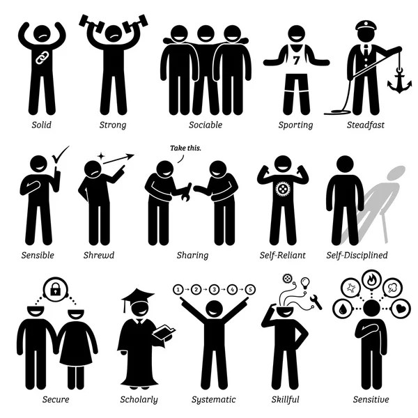 Positive Neutral Personalities Character Traits Stick Figures Man