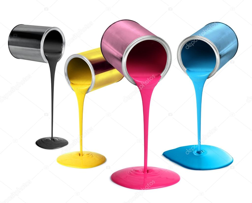 Pouring Pintura Metal Tin Cans Pouring Cmyk Color Paint Stock Photo
