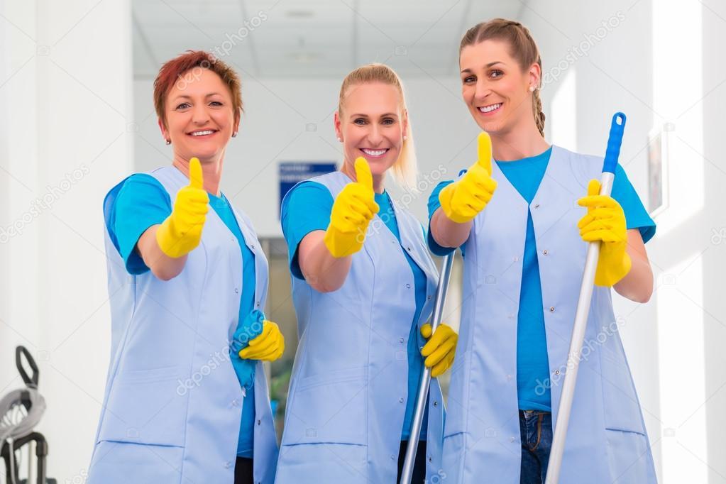 Cleaning ladies working in team \u2014 Stock Photo © Kzenon #79222752
