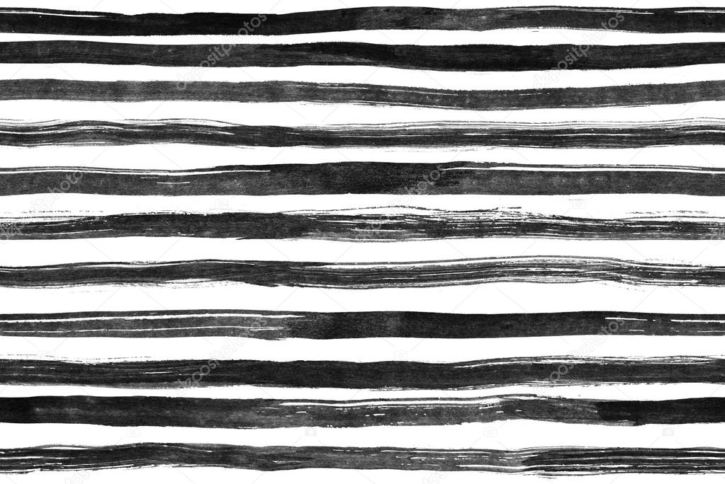 Black White ink abstract horizontal stripes seamless background