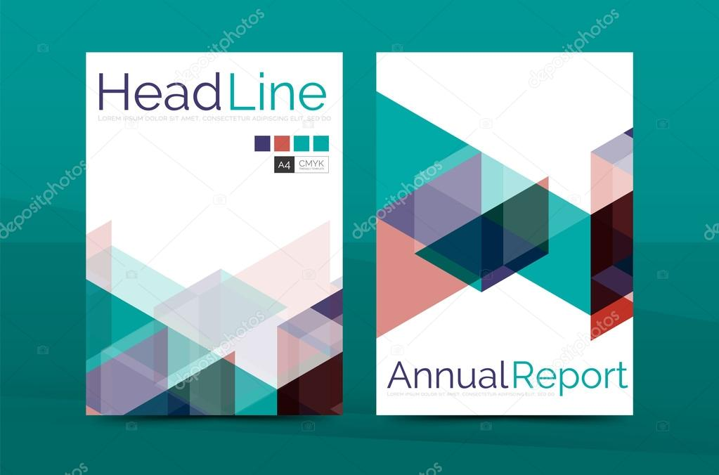 Geometric a4 front page, business annual report print template