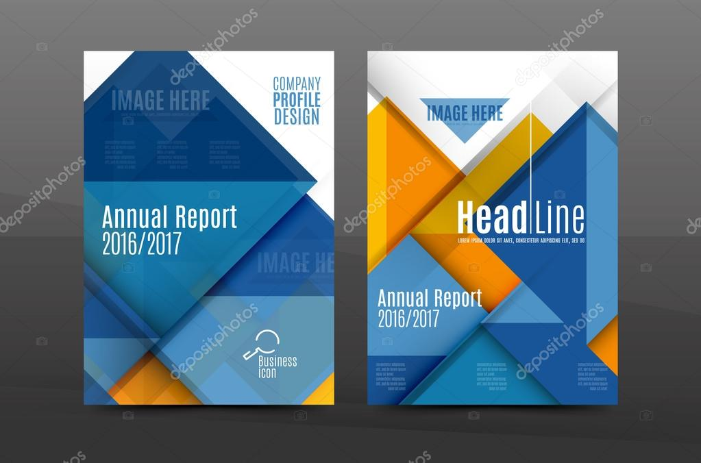 Squares and triangles annual report cover template \u2014 Stock Vector