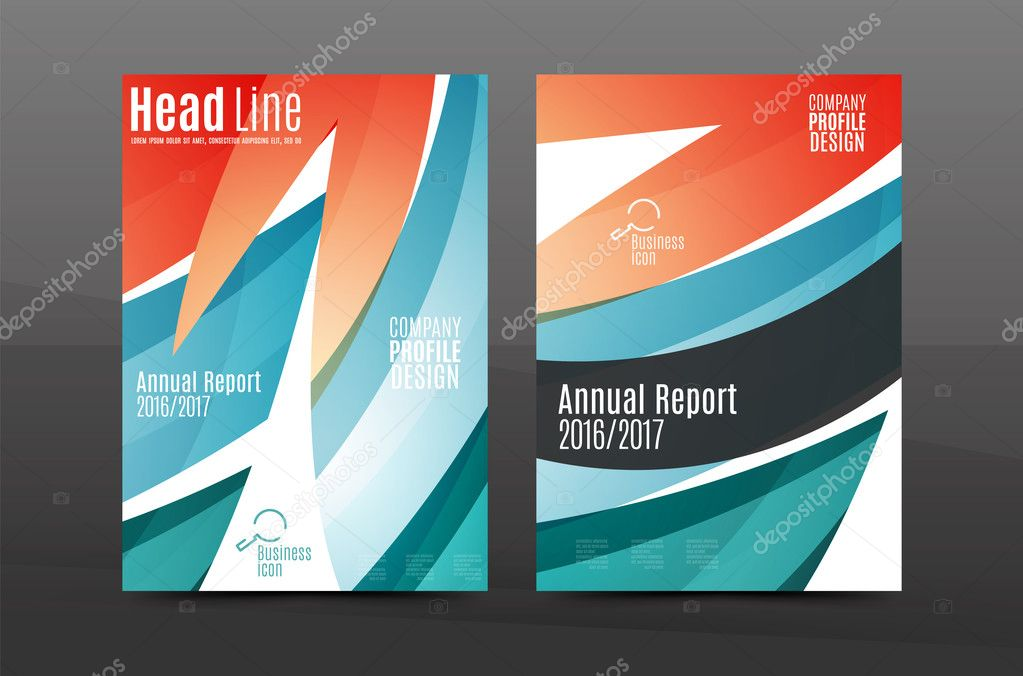Blue wave annual report cover template \u2014 Stock Vector © akomov