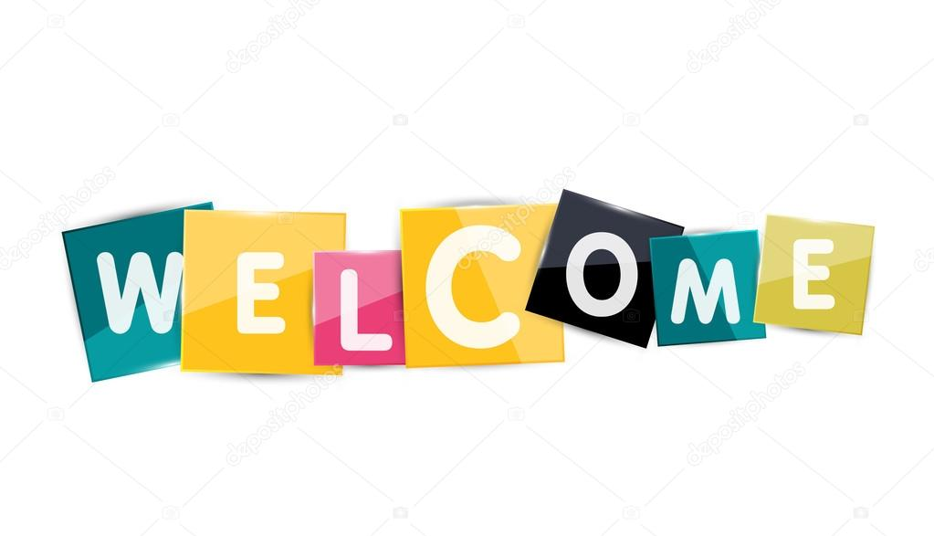 Welcome word with each letter on separate square plate \u2014 Stock