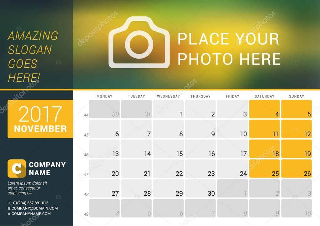 November 2017 Desk Calendar for 2017 Year Vector Design Print