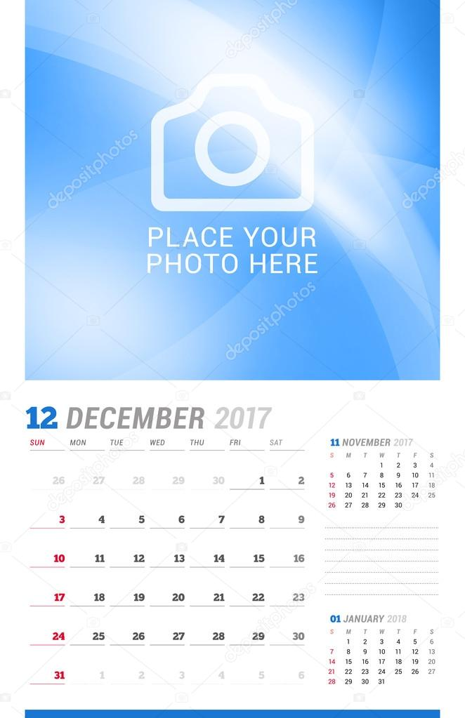 December 2017 Wall Monthly Calendar for 2017 Year Vector Design - december monthly calender