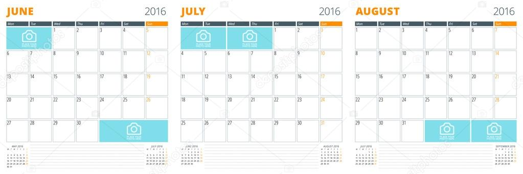 Set of Calendar Templates for June, July, August 2016 Week Starts