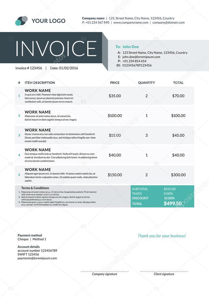 Factura comercial editable Plantilla de factura comercial