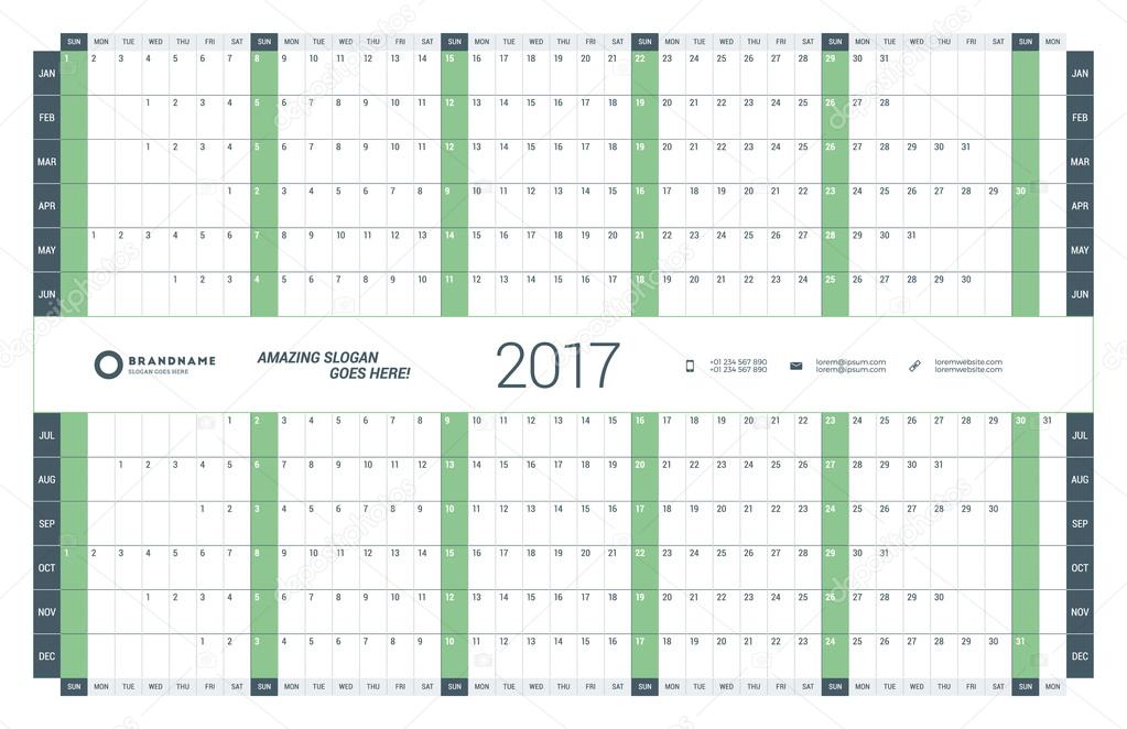 Yearly Calendar Planner Template for 2017 Year Vector Design - annual calendar template
