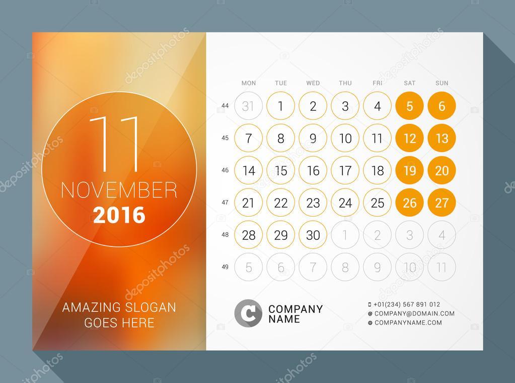 November 2016 Desk Calendar for 2016 Year Vector Design Print