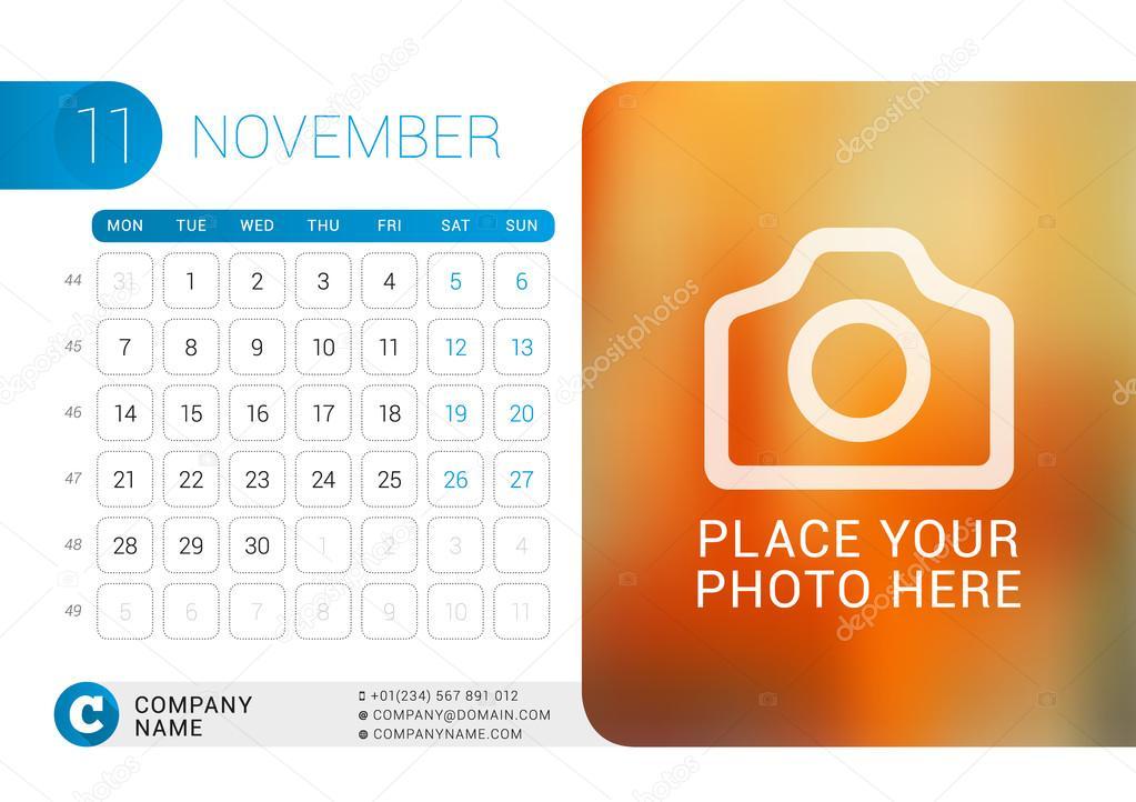 Desk Calendar for 2016 Year November Vector Design Print Template