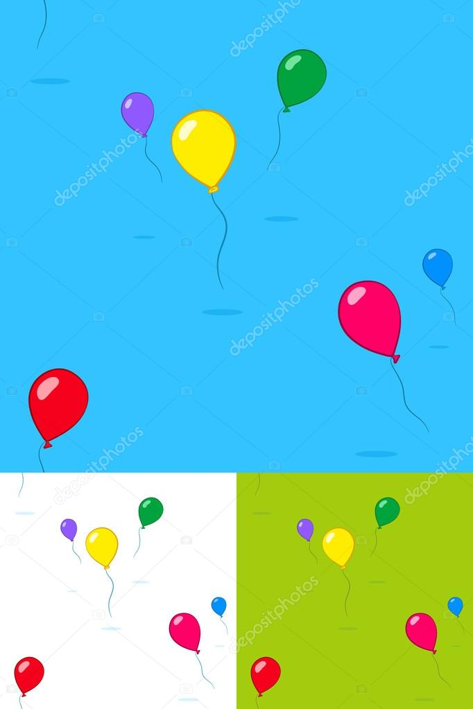 Colorful kids party balloons floating in the sky \u2014 Stock Vector © a