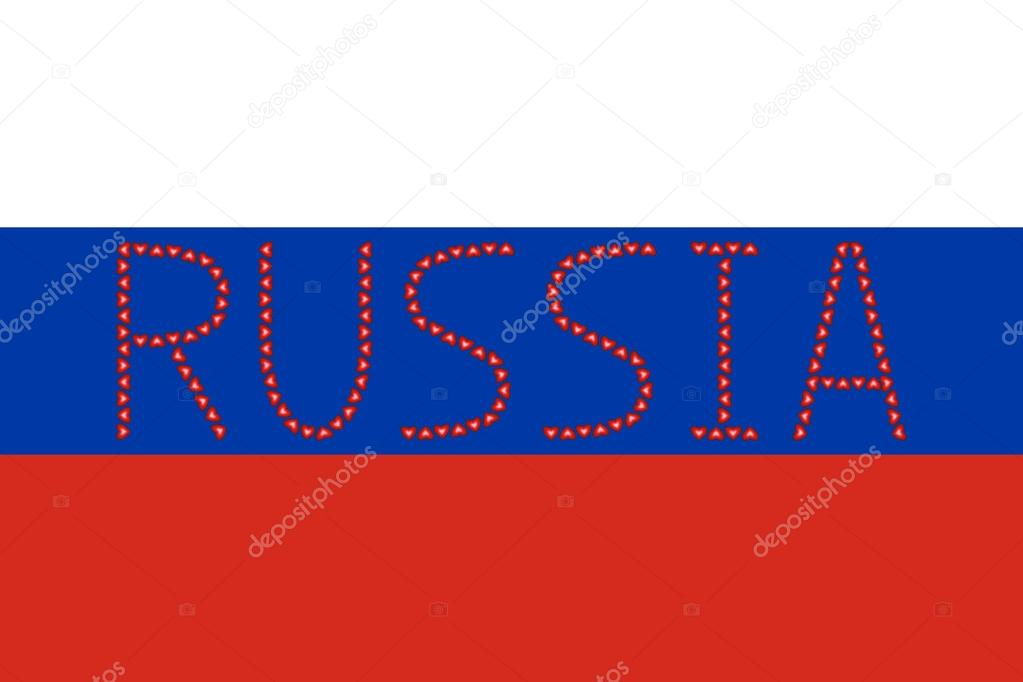 Russian flag and word Russia from hearts \u2014 Stock Vector © photoroman - word flag