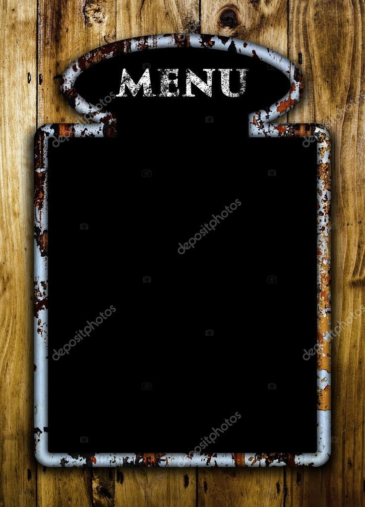 Blank menu board on a wooden wall \u2014 Stock Photo © bluefern #76981861