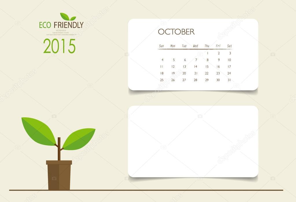 2015 calendar, monthly calendar template for October Vector ill