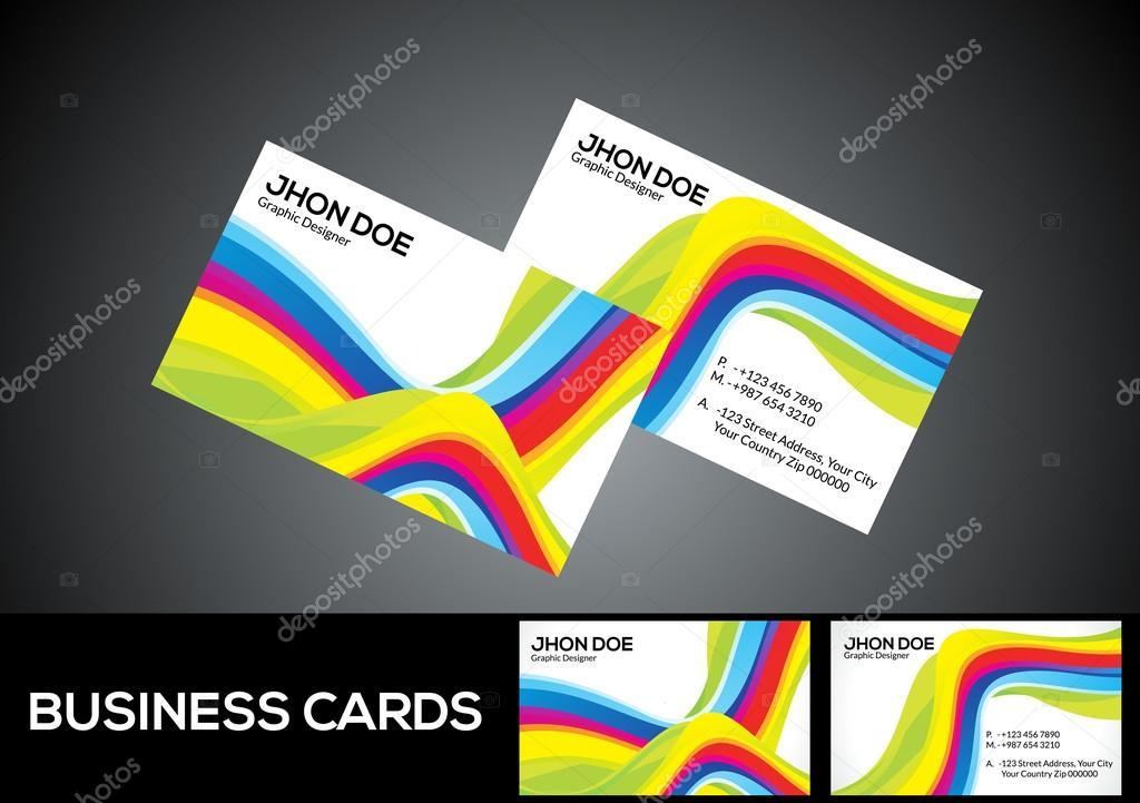 abstract rainbow business card \u2014 Stock Vector © rioillustrator #69527949