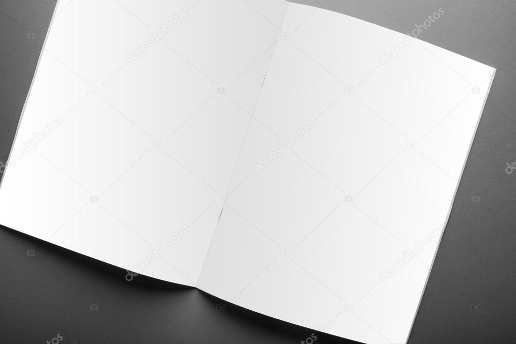 Blank magazine cover template isolated on red background \u2014 Stock