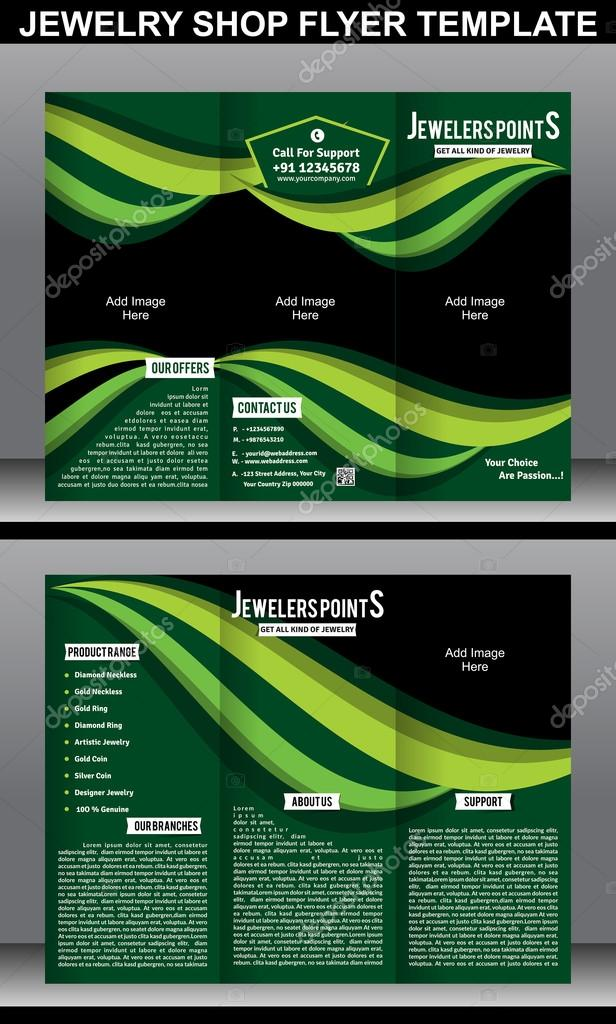 Tri Fold Jewelry Shope Brochure Template \u2014 Stock Vector © gurukripa