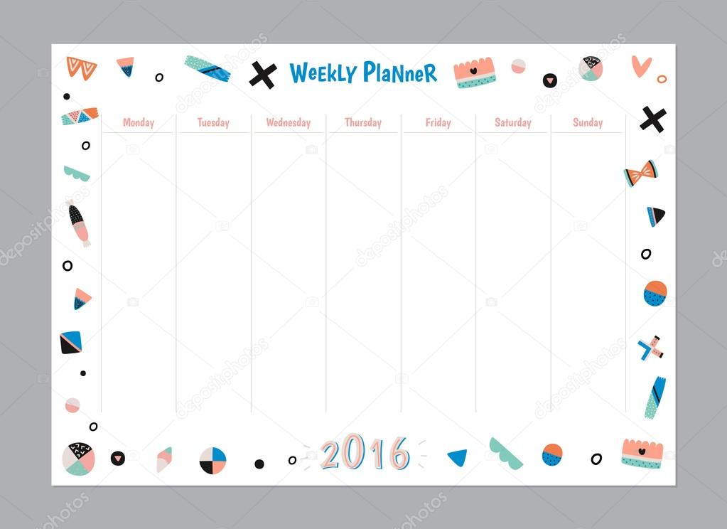 Scandinavian Weekly and Daily Planner \u2014 Stock Vector - daily organizer template