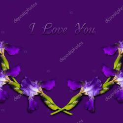 Purple Card With I Love You and a Wreath of Flowers Iris Stock