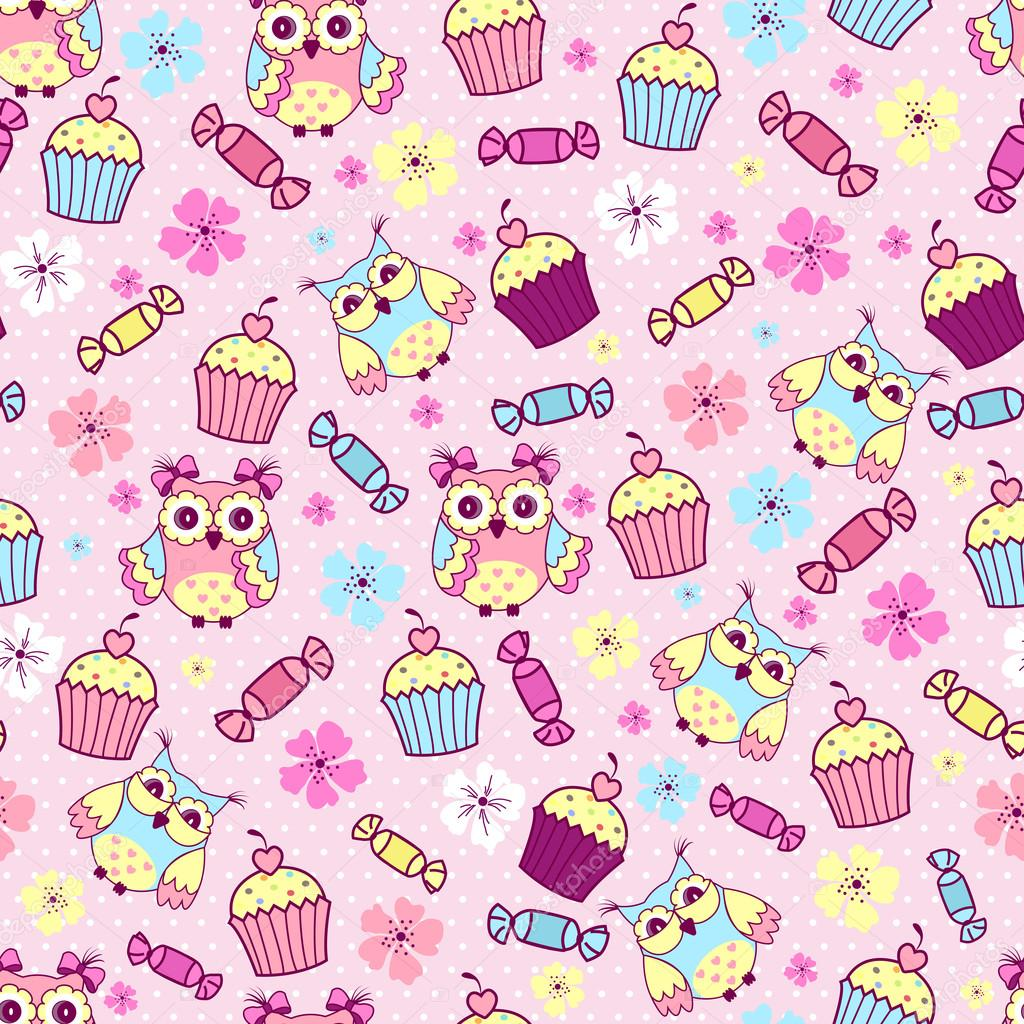 Cute Girly Pattern Wallpapers 与可爱的猫头鹰,蛋糕和巧克力粉红的底色上的无缝模式 图库矢量图像 169 Ykononova 86061920