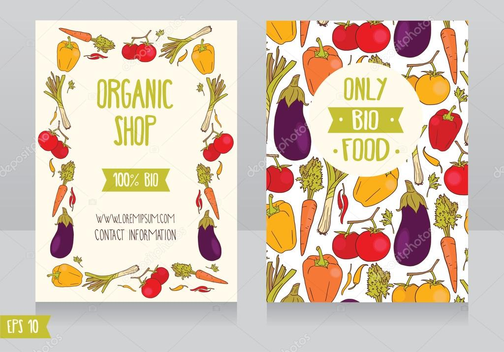 Promo cards template for organic foods shop \u2014 Stock Vector