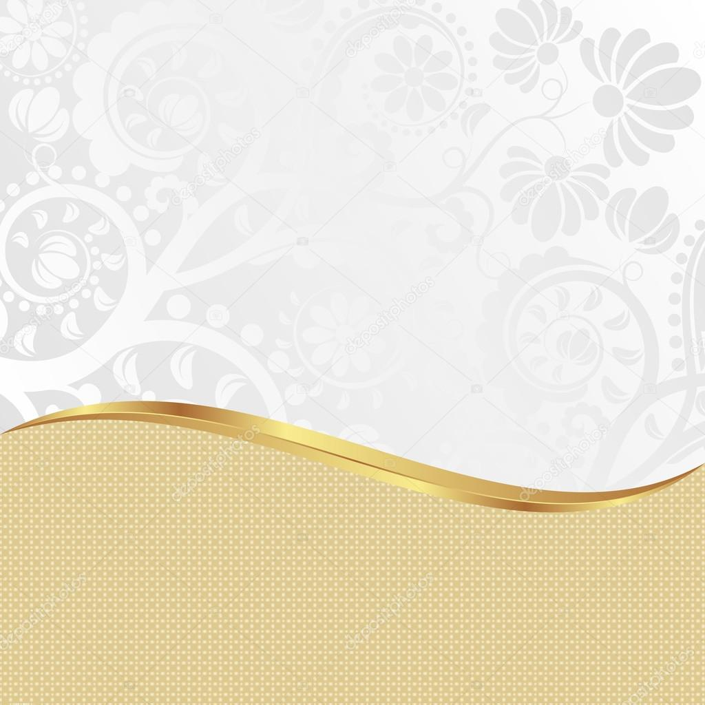 Black Silver And Pink Wallpaper White And Golden Background With Floral Ornaments Stock