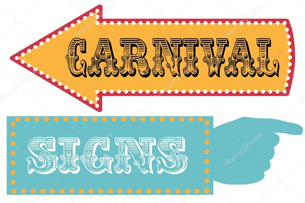 Carnival sign template direction signs \u2014 Stock Vector © sjhuls #72629489